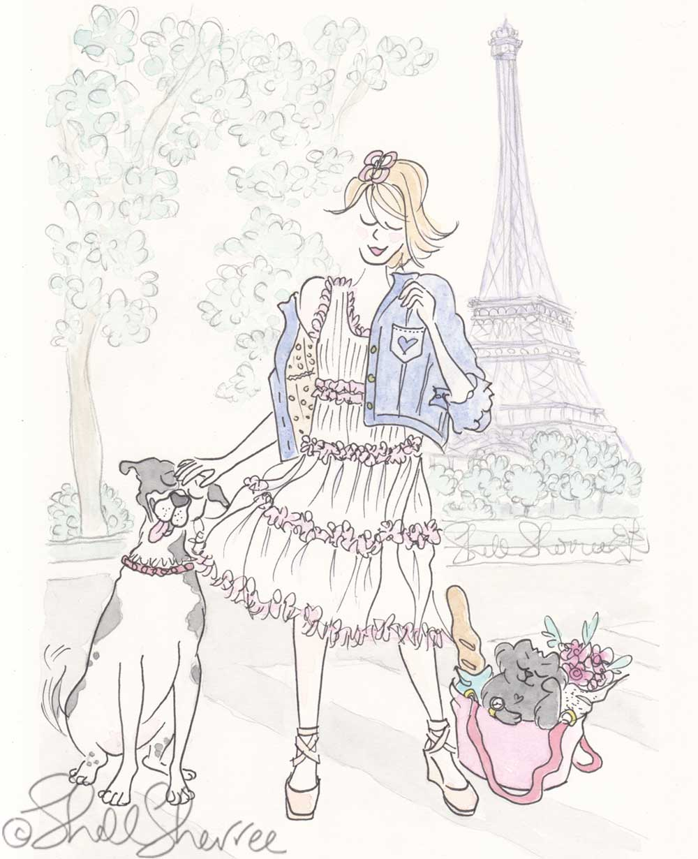 paris eiffel tower casual fashion spotty dog cat print by shell sherree