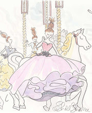 fashion illustration carousel ladies and black cats by shell sherree