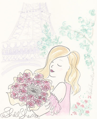 paris eiffel tower fashion flowers cat print by shell sherree