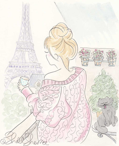 paris eiffel tower fashion morning coffee print by shell sherree
