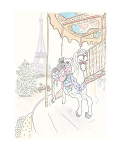 poppy frenchies white carousel pony ride in Paris by shell sherree