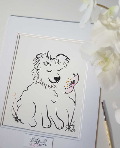 fluffy dog original art by shell sherree