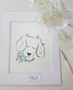spaniel dog original artwork by shell sherree