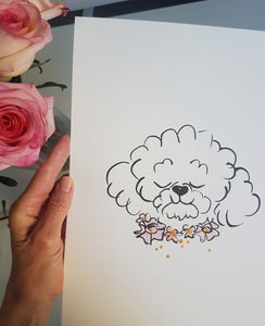 Betty the Bichon Frise art original with pink and orange flower collar by Shell Sherree