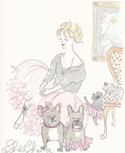 shell sherree print pink tutu pawty with french bulldogs, pup and cat