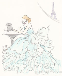 fashion illustration print by shell sherree, aqua ruffles, cat, eiffel tower