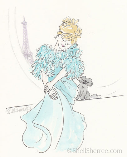 fashion illustration by shell sherree aqua gown eiffel tower black cat