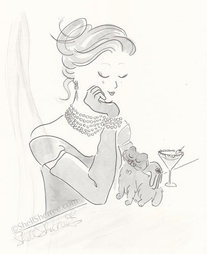 black and white fashion illustration, glam lady and cat by shell sherree