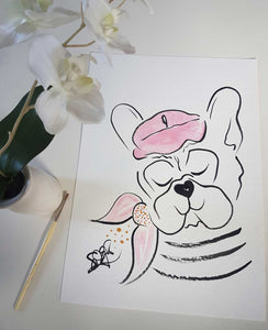 French Bulldog original art 20190305-1 Frenchie with Raspberry Beret and Scarf