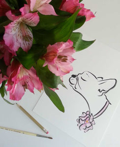 french bulldog pink flower original artwork shell sherree