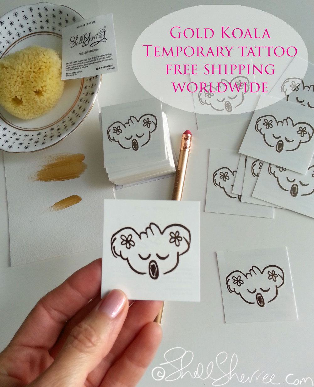gold koala temporary tattoo faux tattoo by shell sherree