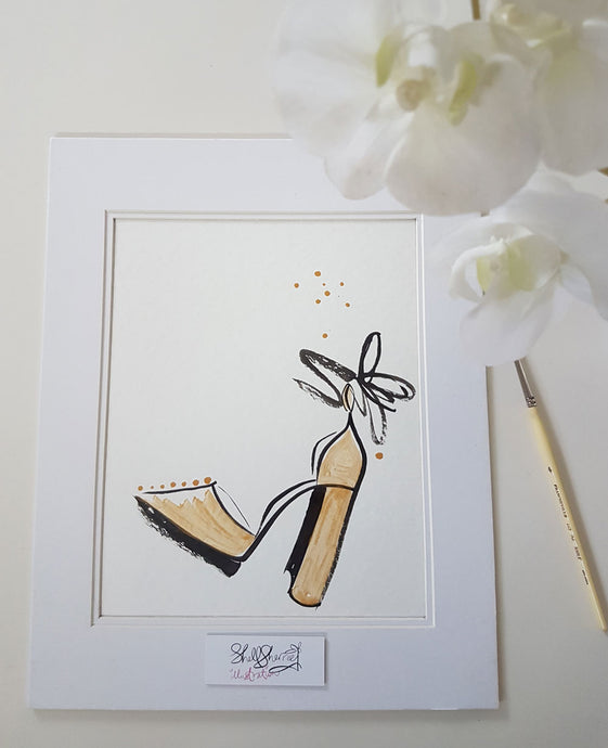 gold shoe original painting shell sherree