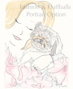 pet and person portrait illustration, shell sherree