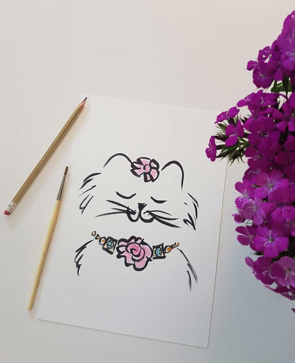 original cat brush drawing artwork by shell sherree