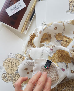 silk scarf leopard print by shell sherree made in italy