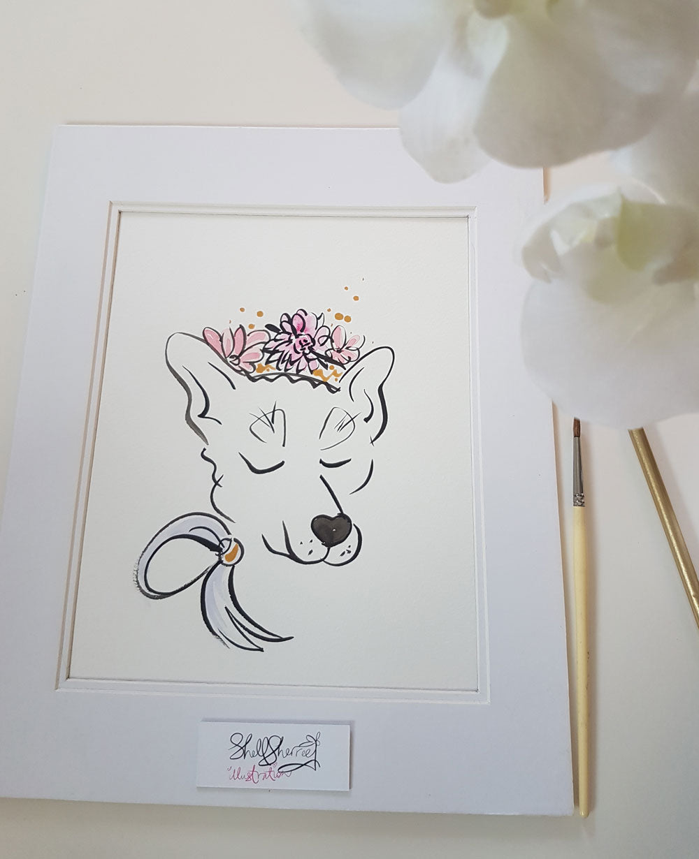 pooch dog original art by shell sherree