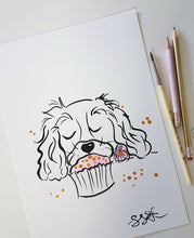 original painting spaniel flower cupcake by shell sherree