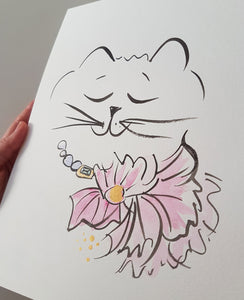 original cat drawing Suzette by shell sherree