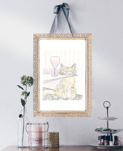 tabby cat wine time art illustration by shell sherree