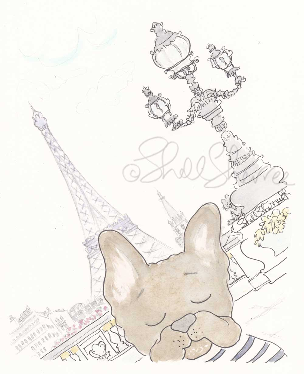 french bulldog in Paris photobomb illustration by shell sherree