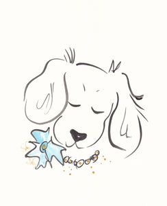 spaniel dog with flower and pearls original artwork shell sherree