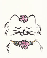 pretty kitty cat with necklace original art shell sherree