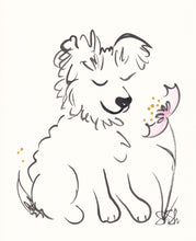 sweet fluffy dog with flower original painting shell sherree