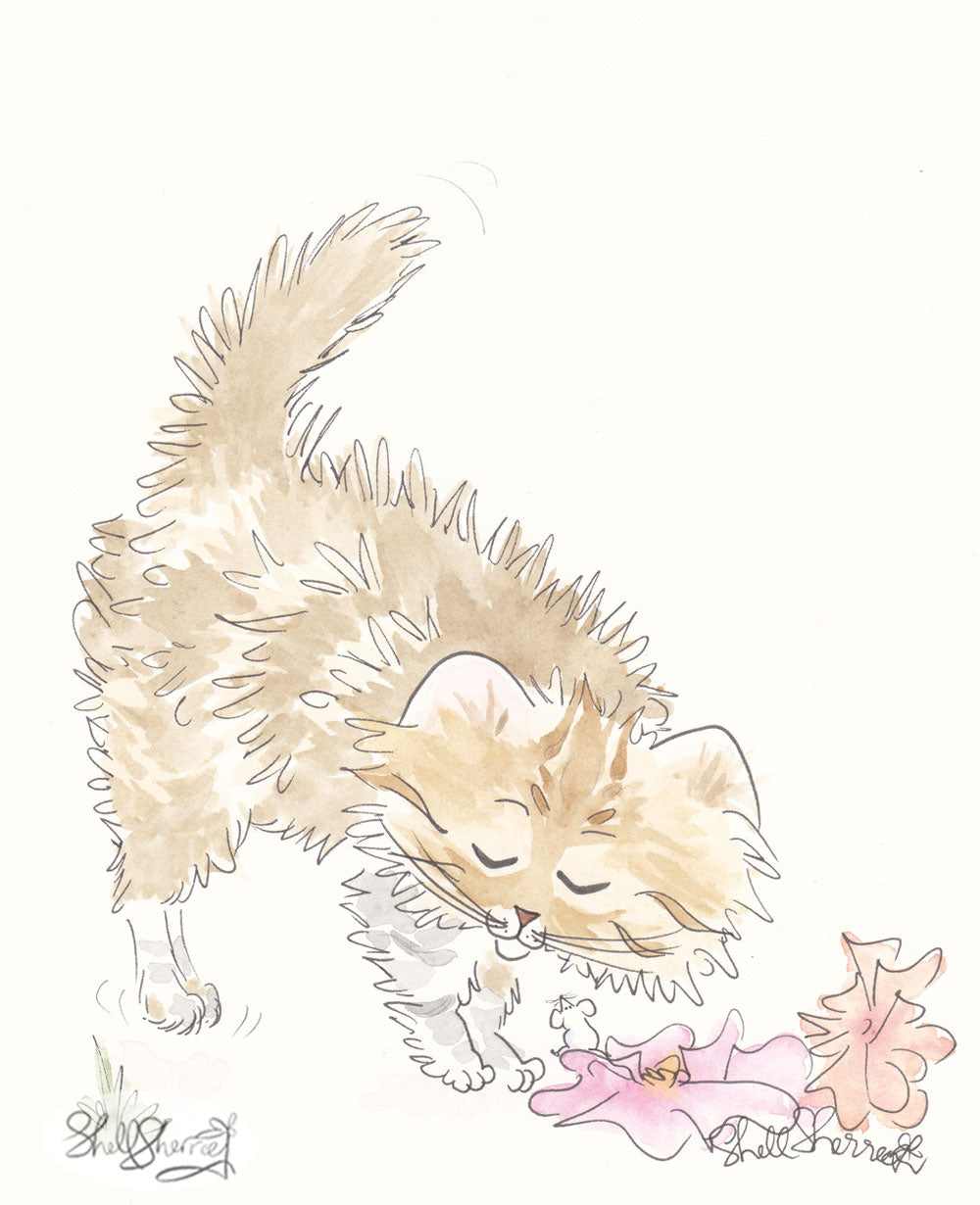 tabby cat art with flowers shell sherree