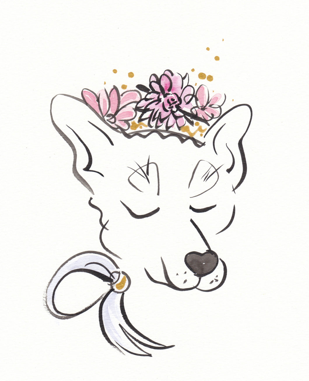 wolf dog with flowers and bow original painting shell sherree