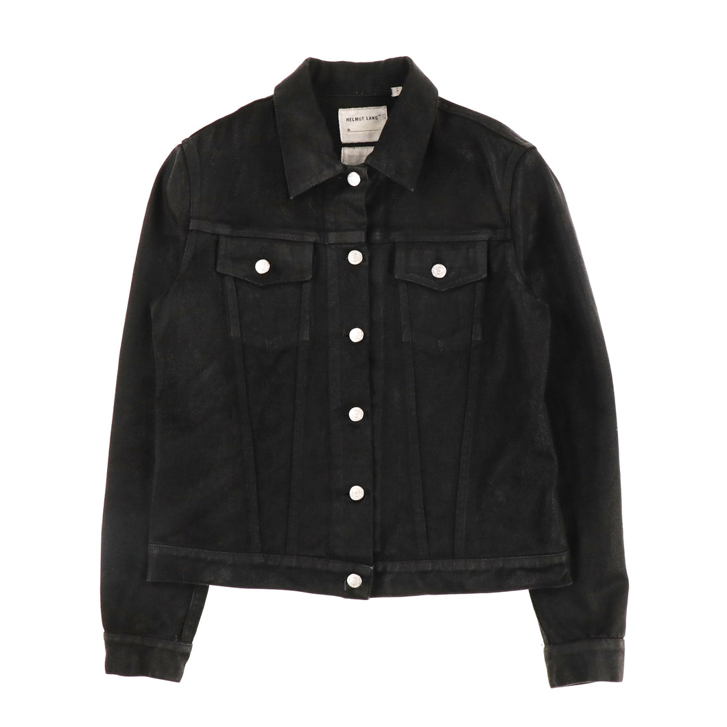 COATED BLACK DENIM JACKET