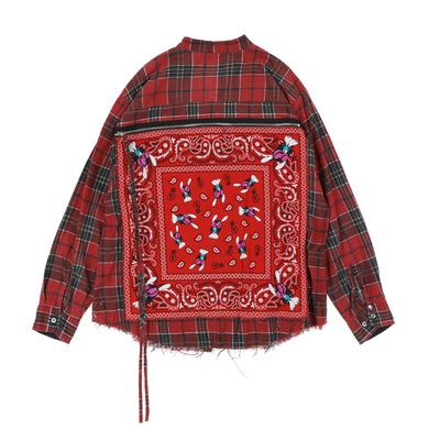 BANDANA BAG FLANNEL SHIRTS / RED