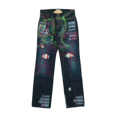 EXCLUSIVE 1OF1 PAINTED MODERN AGE PATCHED PANTS