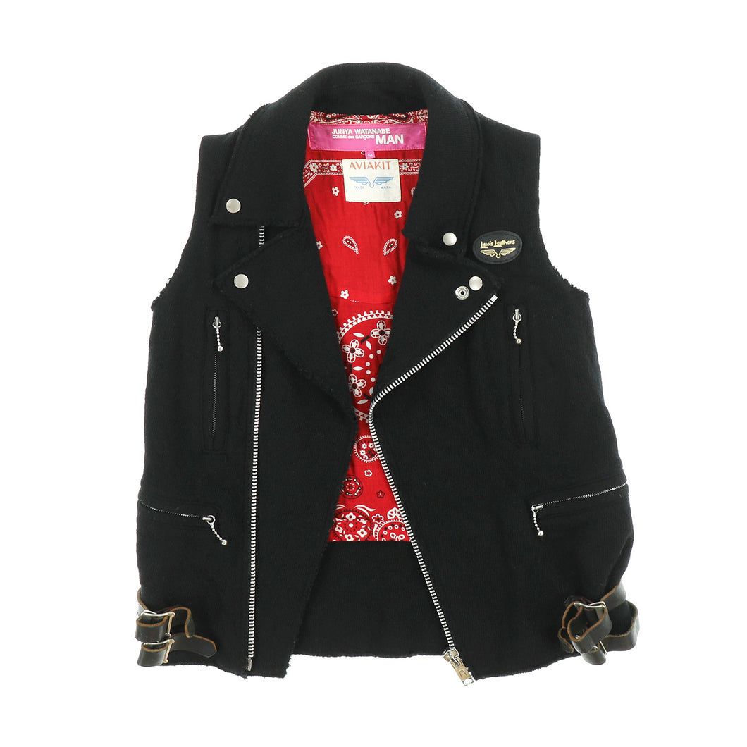 LEWIS LEATHER WOOL RIDERS VEST