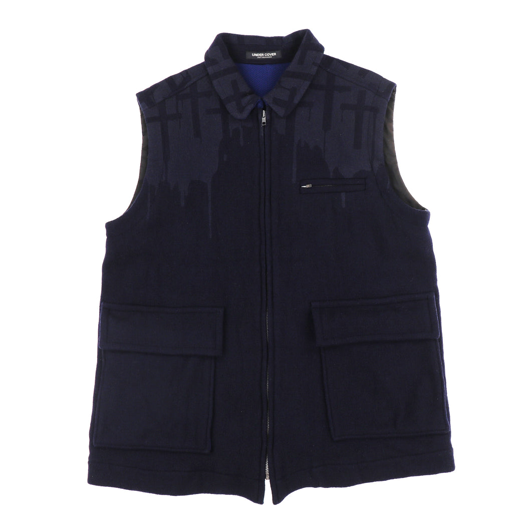 CROSS WOOL ZIP VEST