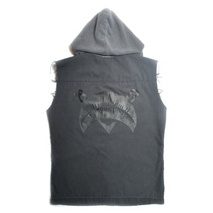 SCAB LOGO NO SLEEVES HOODED SHIRTS