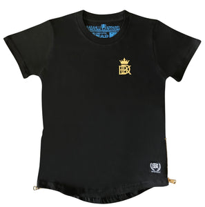 Gold Zipper Tee Black - Babahlu Kids Streetwear