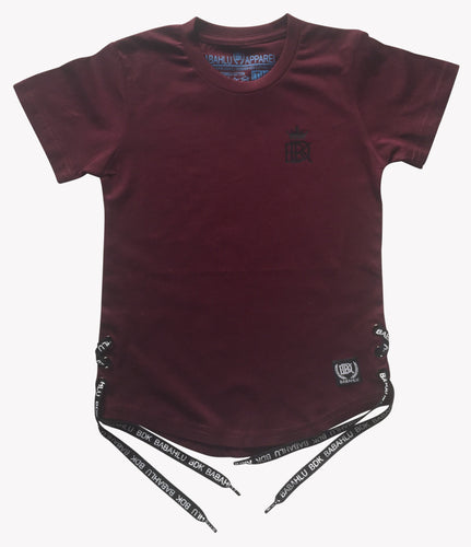Eyelet Tee Burgundy- Only Size 6 Left - Babahlu Kids Streetwear