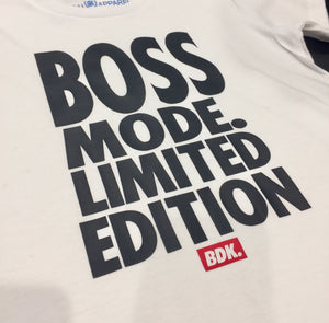 """BOSS MODE LIMITED EDITION"" white tee - Babahlu Kids Streetwear"