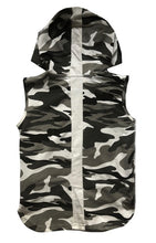 Black & Grey Camo Sleeveless Hoodie - Babahlu Kids Streetwear