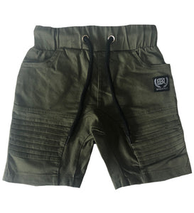 Quinn Military Green Chino Pleat Shorts