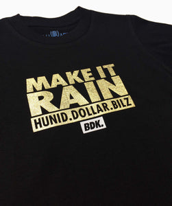 """Make It Rain"" Gold Print Tee - Babahlu Kids Streetwear"