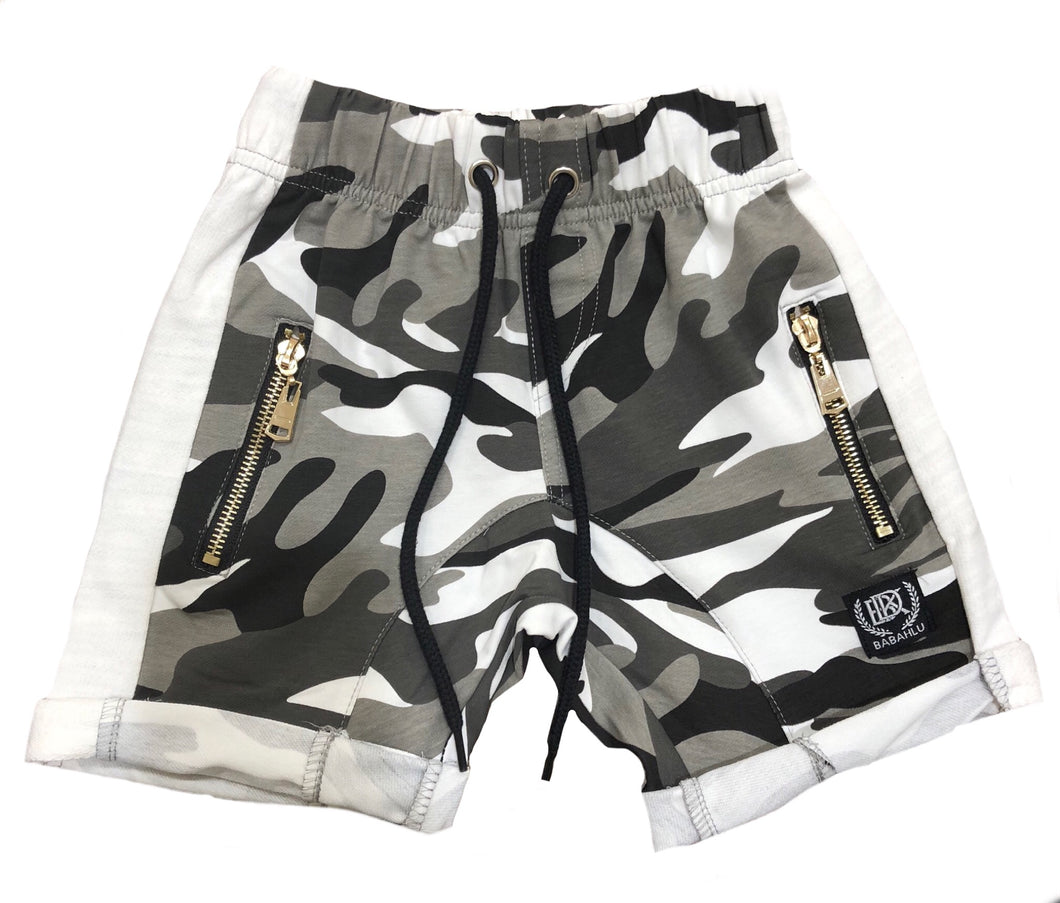 Black & Grey Camo Shorts - Babahlu Kids Streetwear