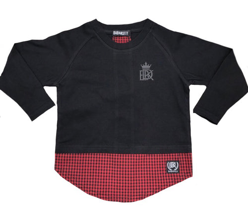 Brooklyn Long Sleeve Tee Black/Red Check - Babahlu Kids Streetwear