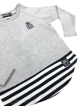 Brooklyn Long Sleeve Tee Grey/Stripe - Babahlu Kids Streetwear