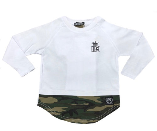 Brooklyn Long Sleeve Tee White/Camo - Babahlu Kids Streetwear