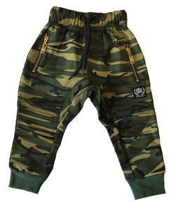 Harlem Drop Crotch Camo Pants with Gold Zips