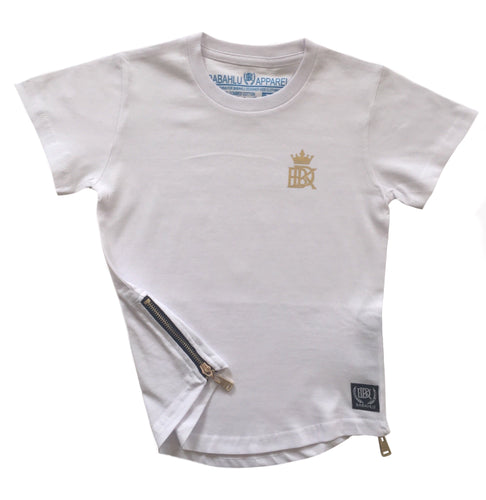 Gold Zipper White Tee - Babahlu Kids Streetwear