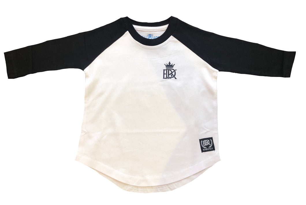 Hunter Raglan 3/4 Long Sleeve Tee Black/White