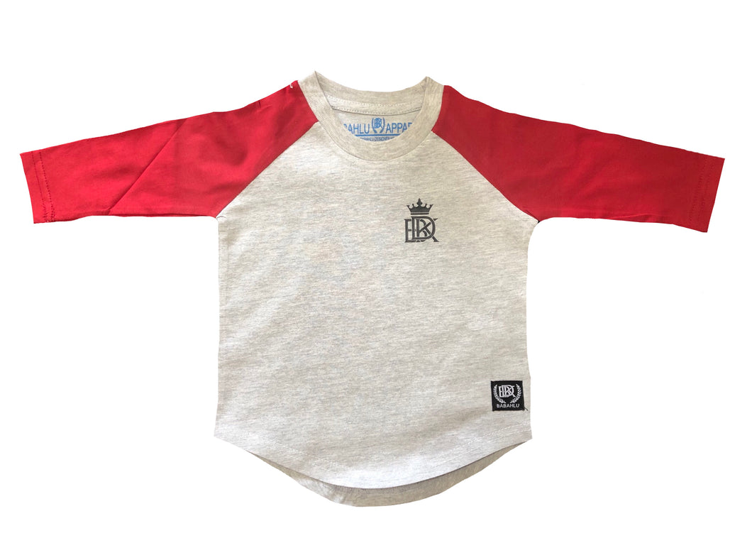 Hunter Raglan 3/4 Long Sleeve Tee Grey/Red