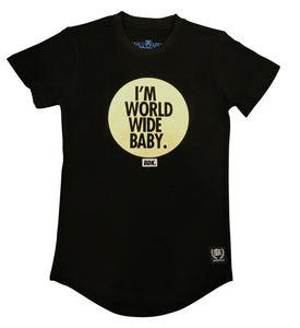 """I'm world wide Baby"" Gold Print Tee - Babahlu Kids Streetwear"